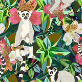 Abstract watercolor draw two lemur striped white black, background tropical forest. Green leaves flowers, color fashion print design, fabric texture, animal Vector Illustration
