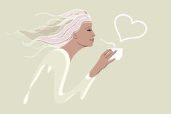 Abstract watercolor drawing of a girl in the morning with a cup of coffee Royalty Free Stock Photography