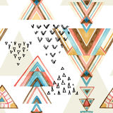 Abstract watercolor ethnic seamless pattern. Abstract watercolor geometric seamless pattern. Triangles with aztec ornament, watercolor and grunge textures royalty free illustration