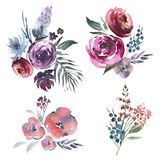 Abstract watercolor floral set of bouquets in a la prima style, red watercolor roses - flowers, twigs, leaves, buds. Hand painted royalty free illustration