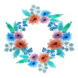 Abstract watercolor floral wreath vector illustration