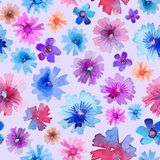 Abstract Watercolor Flower Pattern. Modern Flower Pattern. Pastel colors. Watercolor trend drawings for fashion design, apparel and textile, wrapping stock illustration