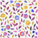 Abstract watercolor flower pattern. Modern pattern with small leaves and flowers. Stock Photos