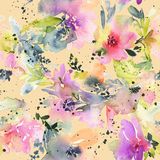 Abstract watercolor flowers. Seamless pattern. Royalty Free Stock Images