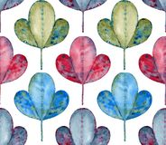 Abstract watercolor foliage seamless pattern. Royalty Free Stock Photo