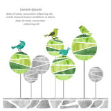 Abstract watercolor forest with cute birds. Eco friendly concept. Vector illustration Stock Images