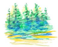 Abstract watercolor forest landscape. Reflection of green trees in water at sunrise, hand drawn illustration, nature background Royalty Free Stock Photos