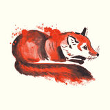 Abstract watercolor fox. Royalty Free Stock Image