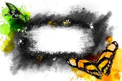 Abstract watercolor frame with butterflies. Royalty Free Stock Photography