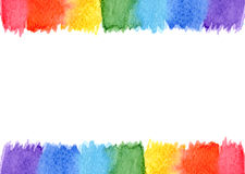 Abstract watercolor frame rainbow seven colors background isolated Stock Photos