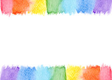 Abstract watercolor frame rainbow seven pastel colors background isolated Royalty Free Stock Photo