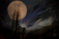 Abstract watercolor full moon paint. Abstract watercolor painting with full moon over the silhouette of spooky house and trees Royalty Free Stock Images