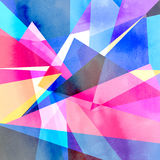 Abstract watercolor geometric background. Abstract colorful watercolor background with different geometric elements Stock Photo