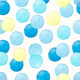 Abstract watercolor geometric seamless pattern. Hand painted background with circle in blue and yellow colors. Polka dot vector illustration