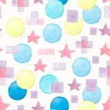 Abstract watercolor geometric seamless pattern. Hand painted background vector illustration