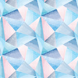 Abstract watercolor geometric seamless pattern. Royalty Free Stock Image