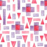 Abstract watercolor geometric seamless pattern. Triangles with aztec ornament, watercolor and grunge textures. Geometrical stock illustration