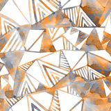 Abstract watercolor geometrical background. Stylized poly seamless pattern. Hand painted watercolour illustration in minimal style stock illustration