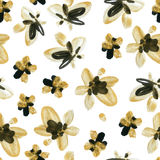Abstract watercolor golden and black flowers seamless pattern Stock Photography