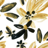 Abstract watercolor golden and black flowers seamless pattern. Abstract floral elements (painted by dry brush strokes ) background in boho style. Hand painted Stock Image