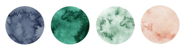 Free Abstract Watercolor Green, Pink And Grey Circle Shapes On White Background. Color Splashing Hand Drawn Vector Royalty Free Stock Images - 173100229