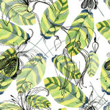 Abstract watercolor hand painted backgrounds with beautiful green leaves. Seamless background Stock Photography