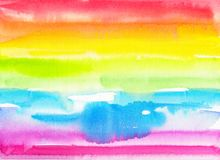Abstract watercolor hand painted rainbow background royalty free stock images