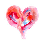 Abstract Watercolor heart. Watercolor red  heart  on white Royalty Free Stock Photography
