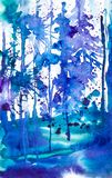 Abstract watercolor illustration of the blue forest surrounded by drops of ink blots.  royalty free illustration