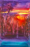 Abstract watercolor illustration of the forest at bright red sunset vector illustration