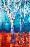 Abstract watercolor illustration of the forest at sunset vector illustration