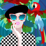 Abstract watercolor illustration of girl. Black beret, dress in cage, sunglasses striped (white and red), background pattern tropical forest, parrot. Color Royalty Free Stock Photos