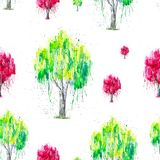 Abstract watercolor illustration of green and red Russian birch tree with splashis isolated on white background. Hand painted on. Paper. Seamless pattern stock illustration