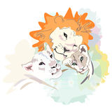 Abstract watercolor illustration of a happy Lion family Stock Photography