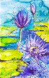 Abstract watercolor illustration of purple water lilies on the surface of the lake royalty free illustration