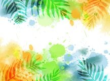 Abstract background with watercolor splashes and palm leaves. Abstract watercolor imitation splashes background with tropical palm leaves. Trendy summer vacation royalty free illustration