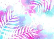 Abstract background with watercolor splashes and palm leaves. Abstract watercolor imitation splashes background with tropical palm leaves. Trendy summer vacation stock illustration