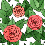 Abstract watercolor and ink rose with leaves seamless pattern on the white background Royalty Free Stock Photo