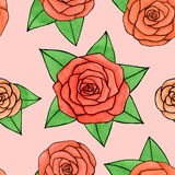 Abstract watercolor and ink rose with leaves seamless pattern on the white background Stock Images