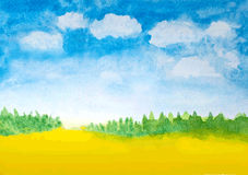 Abstract watercolor landscape background Stock Photo