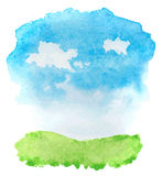 Abstract watercolor landscape with grass and clouds Stock Photos