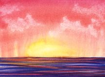 Abstract watercolor landscape. Hand painted background illustration stock illustration