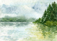 Abstract watercolor landscape Stock Photo