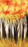 Abstract watercolor landscape. Tall dark tree trunks with a lush autumn crown. Yellow, red orange. Fall season. Colorful pattern.
