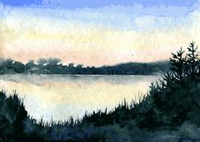 Abstract watercolor landscape Stock Photos