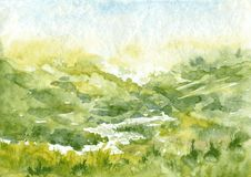 Abstract watercolor landscape Stock Image