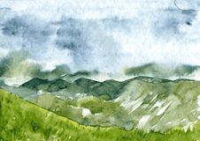 Abstract watercolor landscape. Abstract vector watercolor mountain landscape, clouds and fog in mountains, rainy day, thunderstorm in the highlands  hand drawn Stock Photos