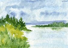Abstract watercolor landscape Royalty Free Stock Photography