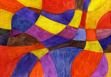 Abstract watercolor lines and shapes painting. Vibrant colors Stock Images