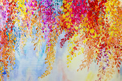 Abstract watercolor original landscape painting imagination colorful of beauty flowers vector illustration